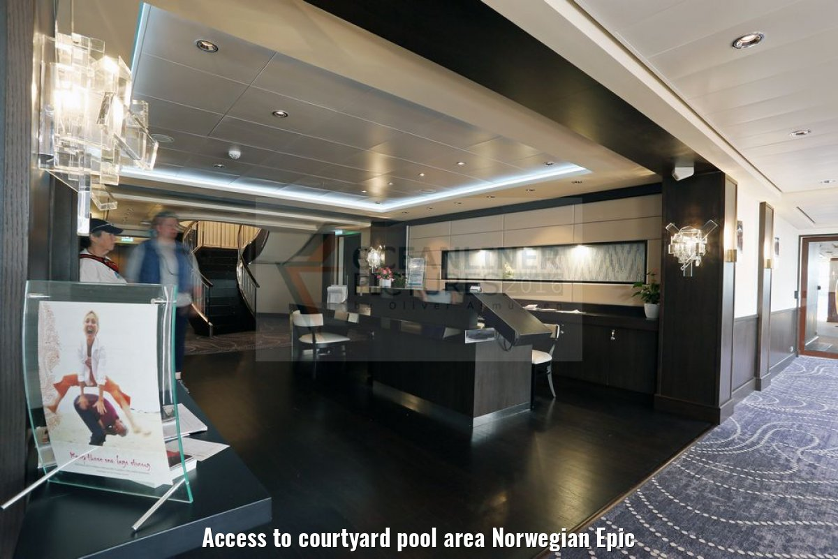 Access to courtyard pool area Norwegian Epic