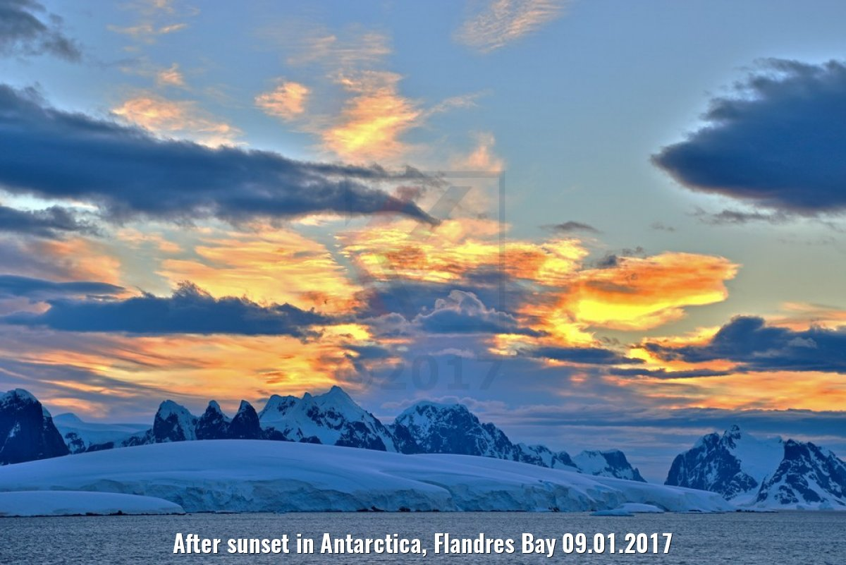 After sunset in Antarctica, Flandres Bay 09.01.2017