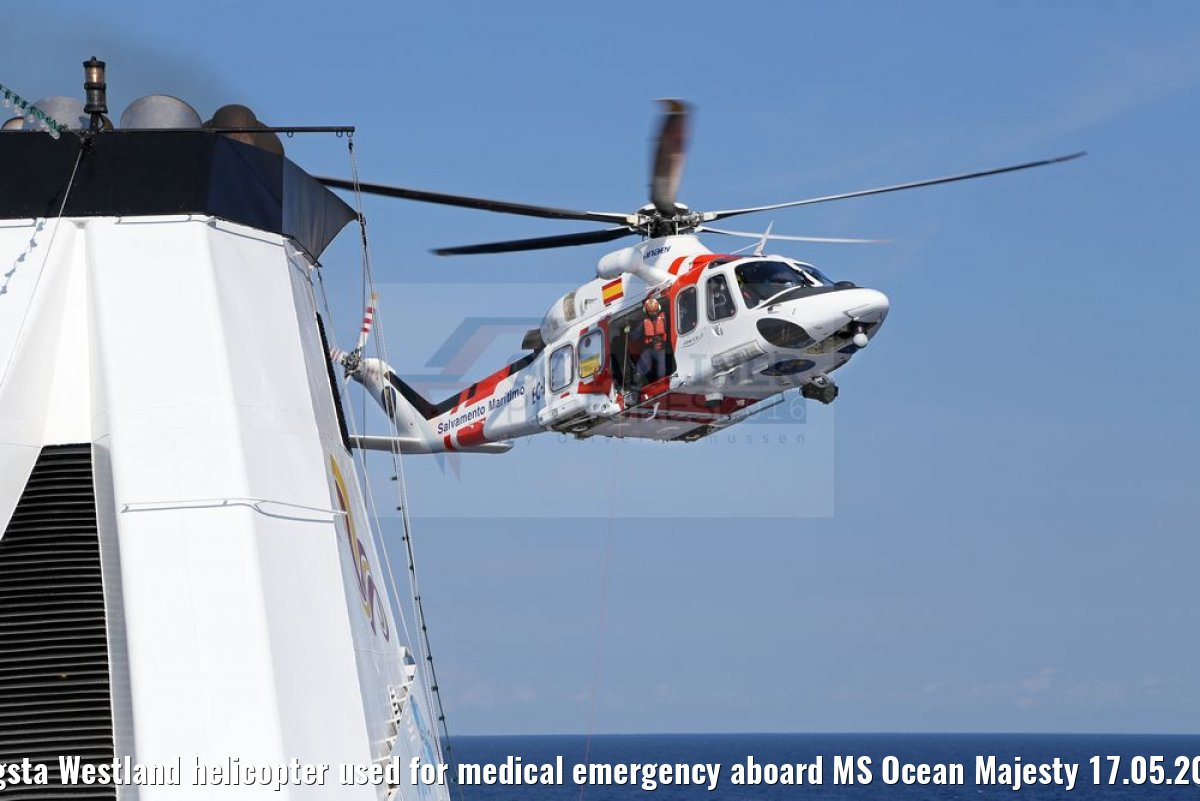 Augsta Westland helicopter used for medical emergency aboard MS Ocean Majesty 17.05.2016
