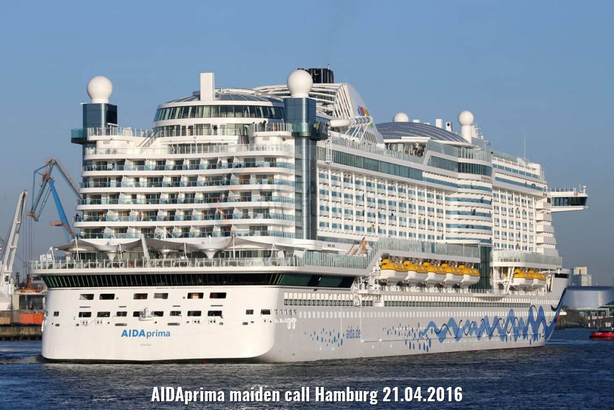 AIDAprima maiden call Hamburg 21.04.2016