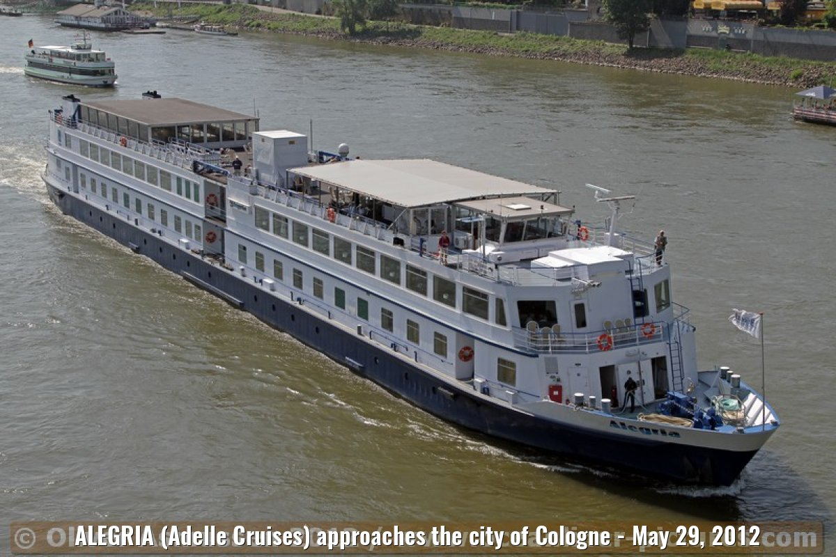 ALEGRIA (Adelle Cruises) approaches the city of Cologne - May 29, 2012