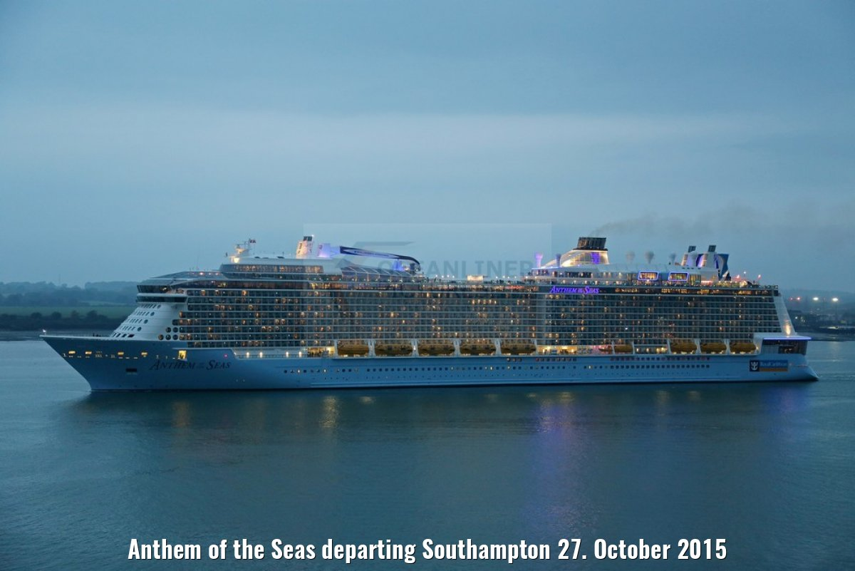 Anthem of the Seas departing Southampton 27. October 2015