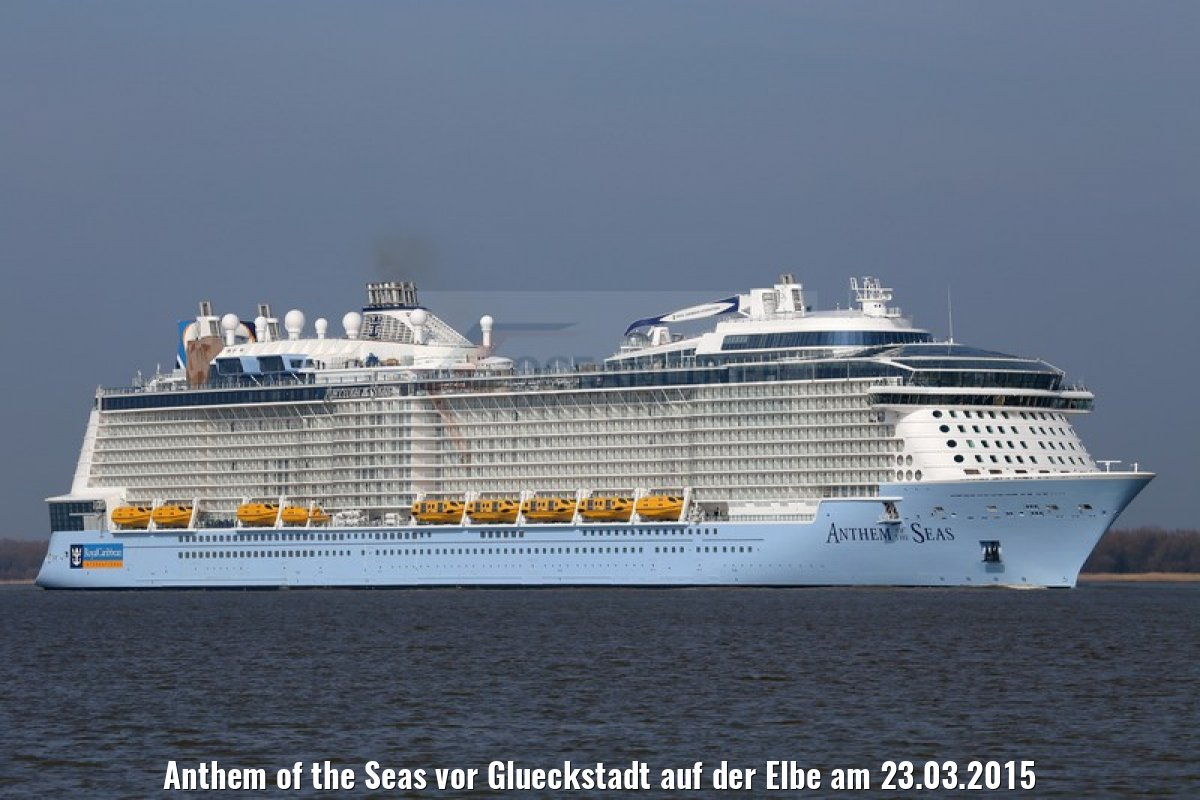 Anthem of the Seas vor Glueckstadt auf der Elbe am 23.03.2015