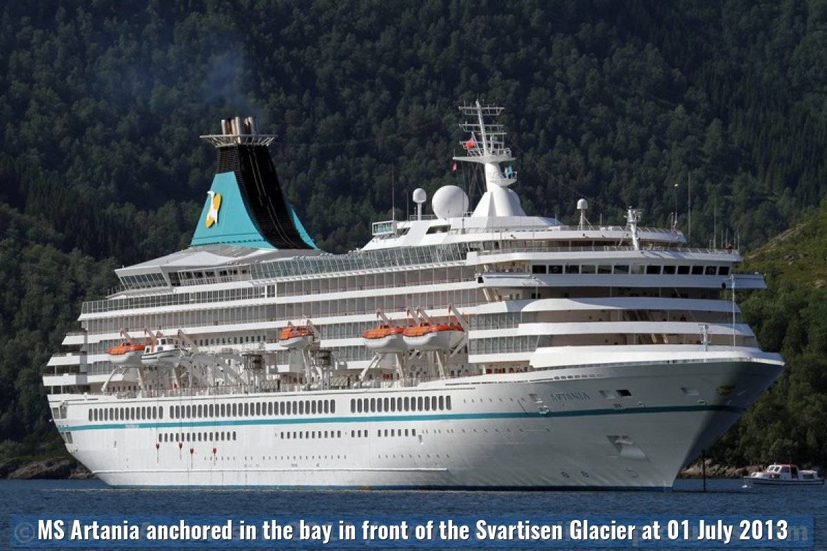 MS Artania anchored in the bay in front of the Svartisen Glacier at 01 July 2013