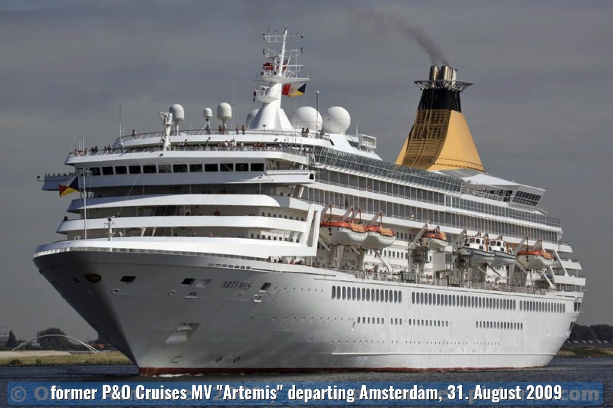 "former P&O Cruises MV ""Artemis"" departing Amsterdam, 31. August 2009"