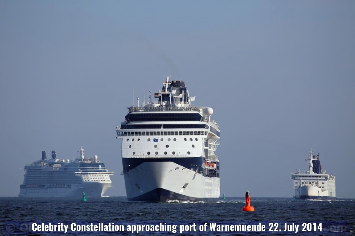 Celebrity Constellation approaching port of Warnemuende 22. July 2014