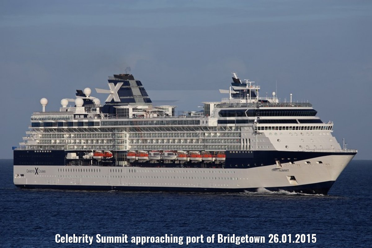 Celebrity Summit approaching port of Bridgetown 26.01.2015