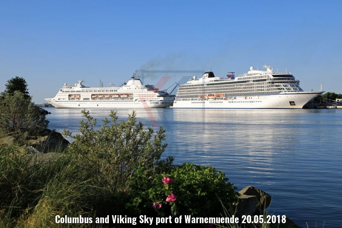 Columbus and Viking Sky port of Warnemuende 20.05.2018
