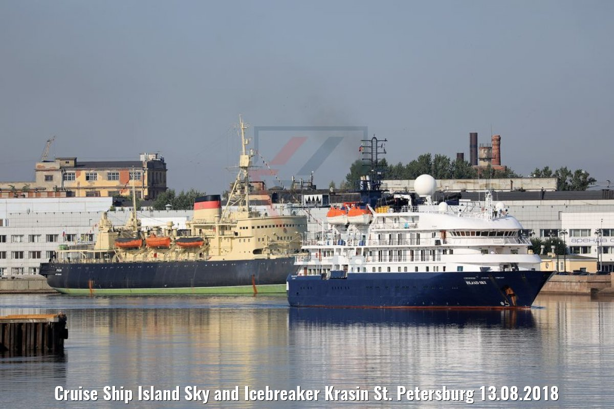 Cruise Ship Island Sky and Icebreaker Krasin St. Petersburg 13.08.2018