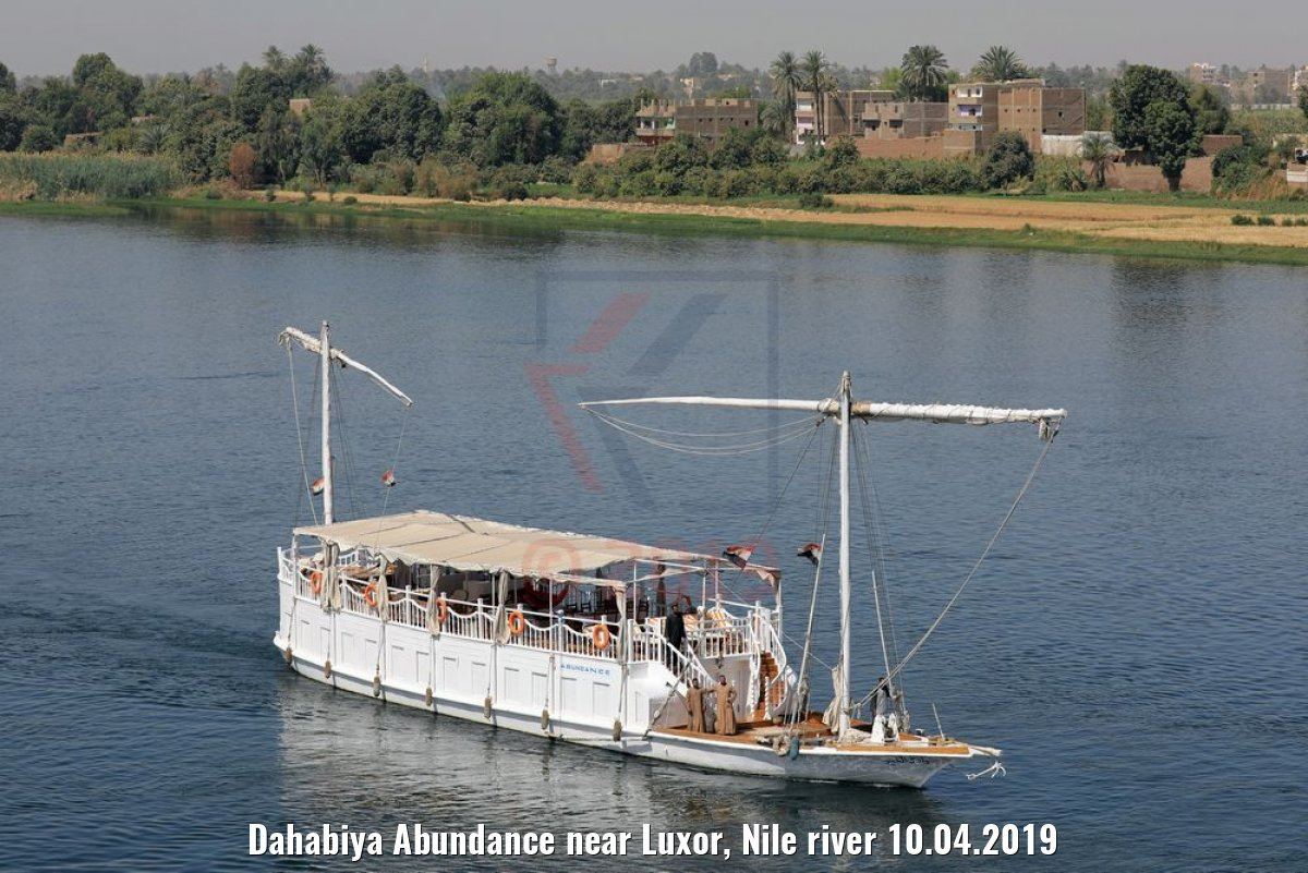 Dahabiya Abundance near Luxor, Nile river 10.04.2019