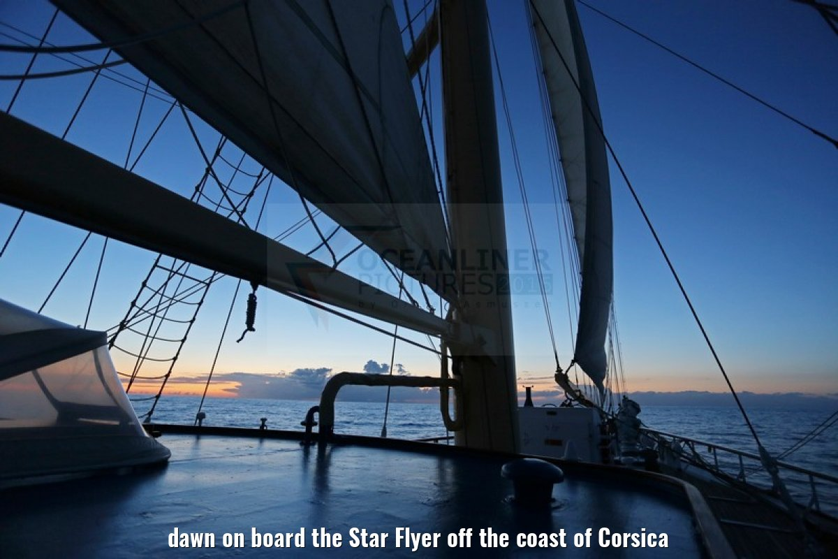 dawn on board the Star Flyer off the coast of Corsica