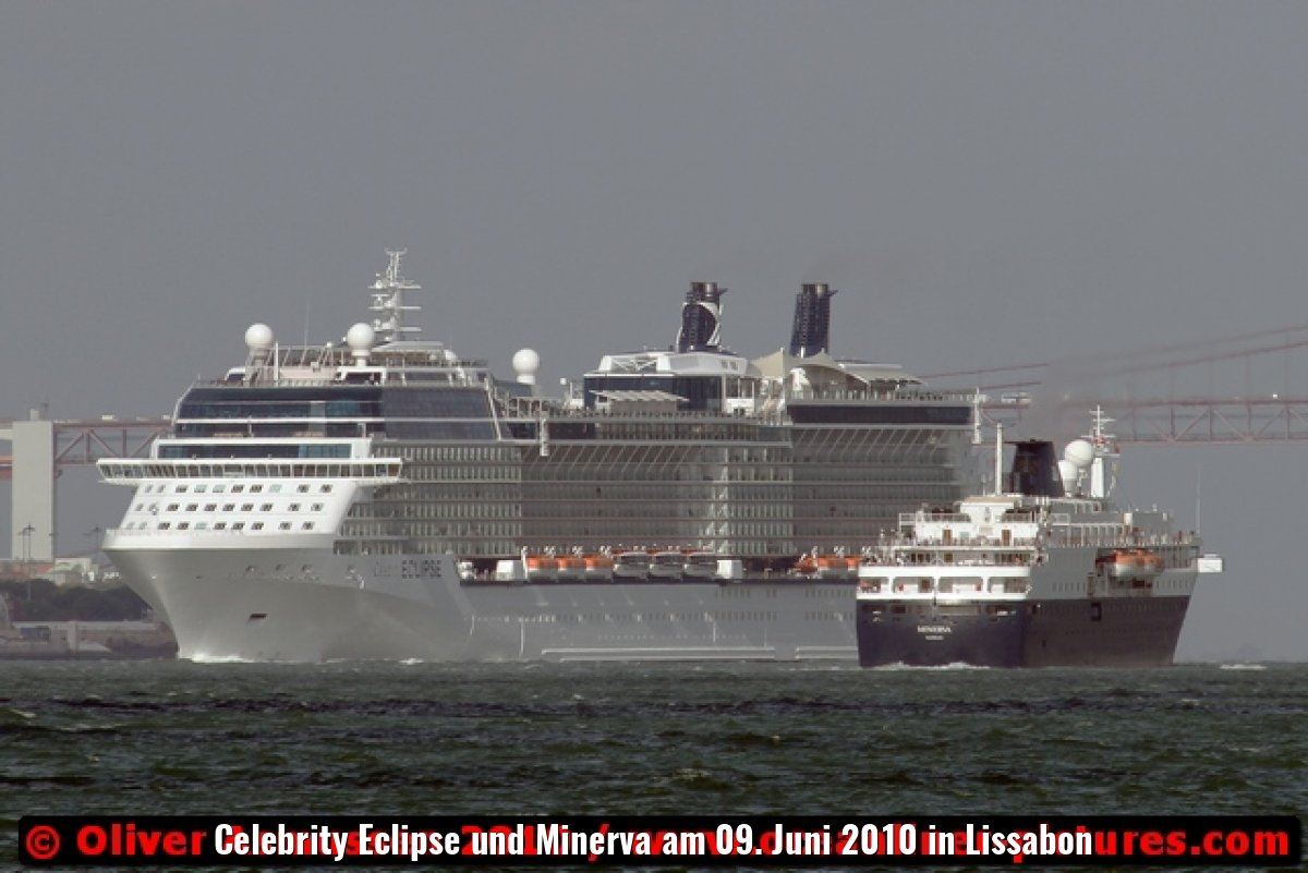 Celebrity Eclipse und Minerva am 09. Juni 2010 in Lissabon