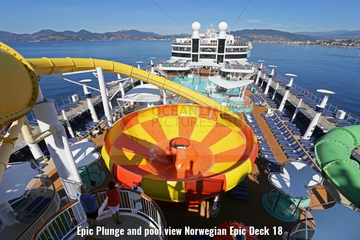 Epic Plunge and pool view Norwegian Epic Deck 18