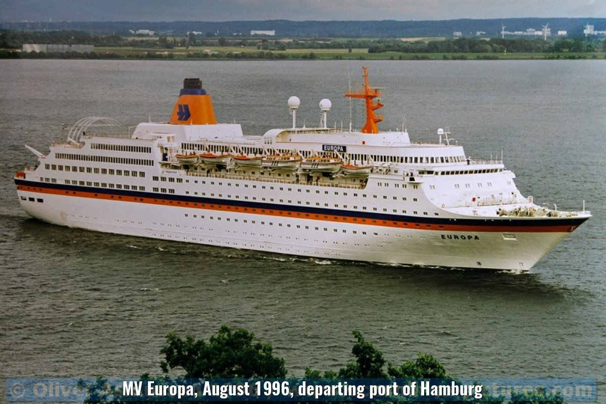 MV Europa, August 1996, departing port of Hamburg