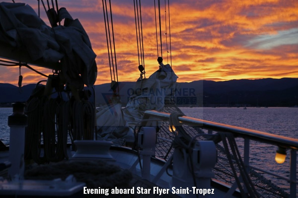 Evening aboard Star Flyer Saint-Tropez