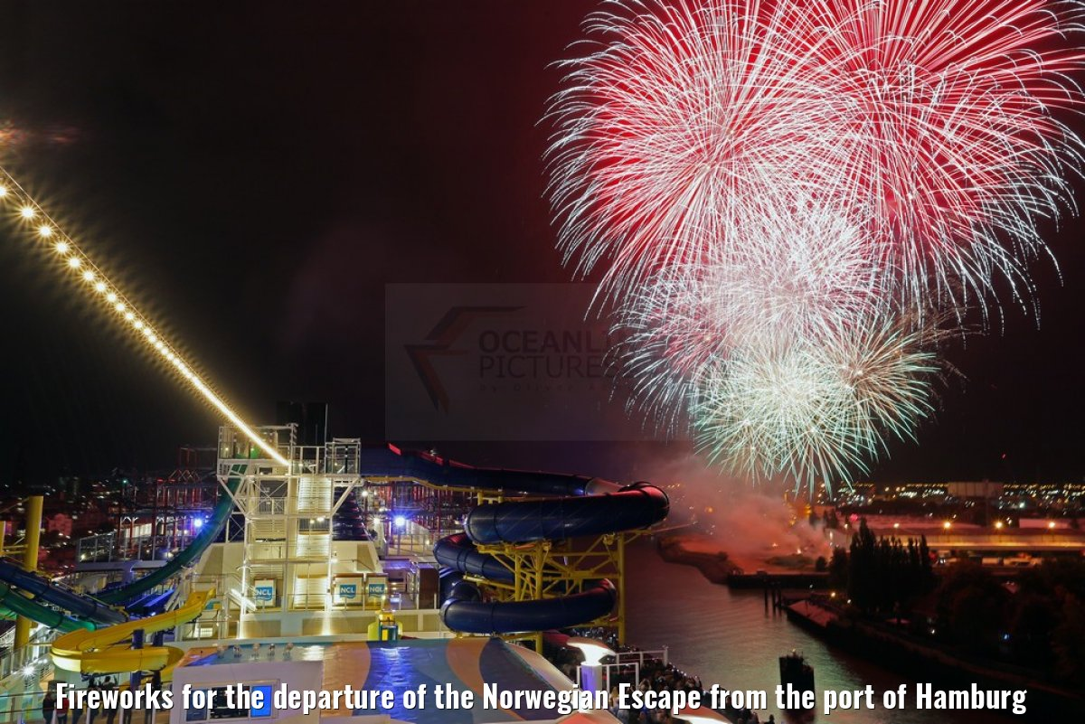 Fireworks for the departure of the Norwegian Escape from the port of Hamburg