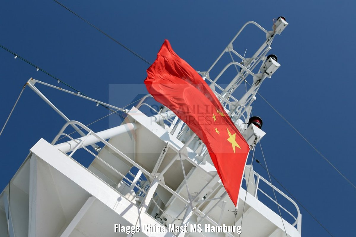 Flagge China Mast MS Hamburg