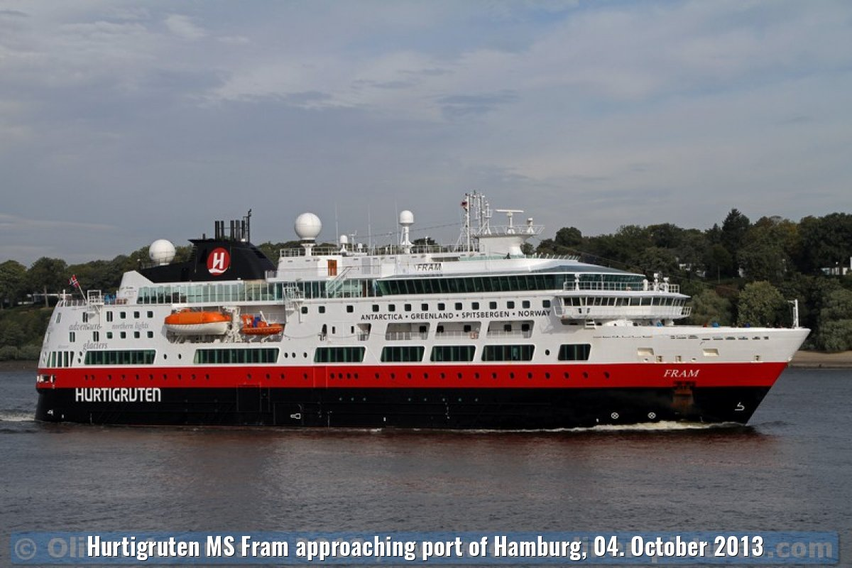 Hurtigruten MS Fram approaching port of Hamburg, 04. October 2013