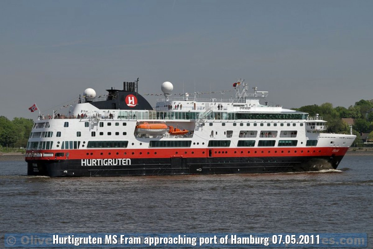 Hurtigruten MS Fram approaching port of Hamburg 07.05.2011