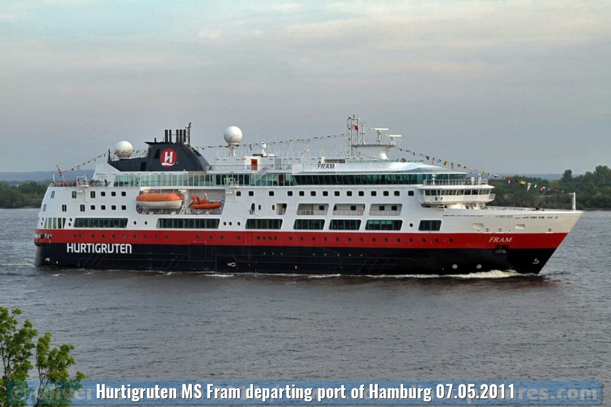 Hurtigruten MS Fram departing port of Hamburg 07.05.2011