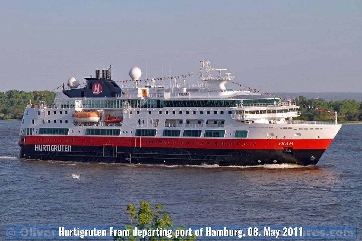Hurtigruten Fram departing port of Hamburg, 08. May 2011