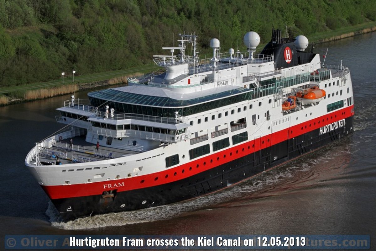 Hurtigruten Fram crosses the Kiel Canal on 12.05.2013