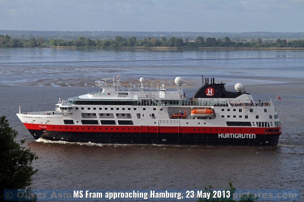 MS Fram approaching Hamburg, 23 May 2013