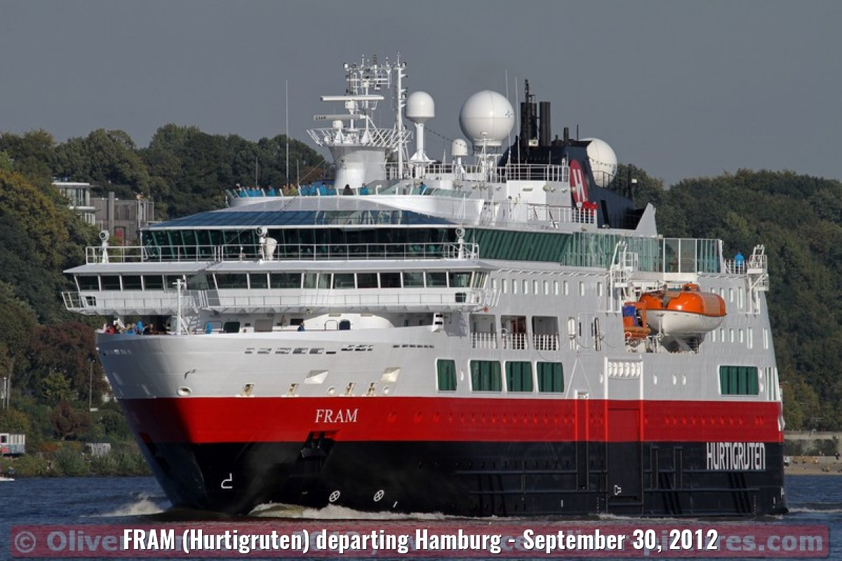FRAM (Hurtigruten) departing Hamburg - September 30, 2012
