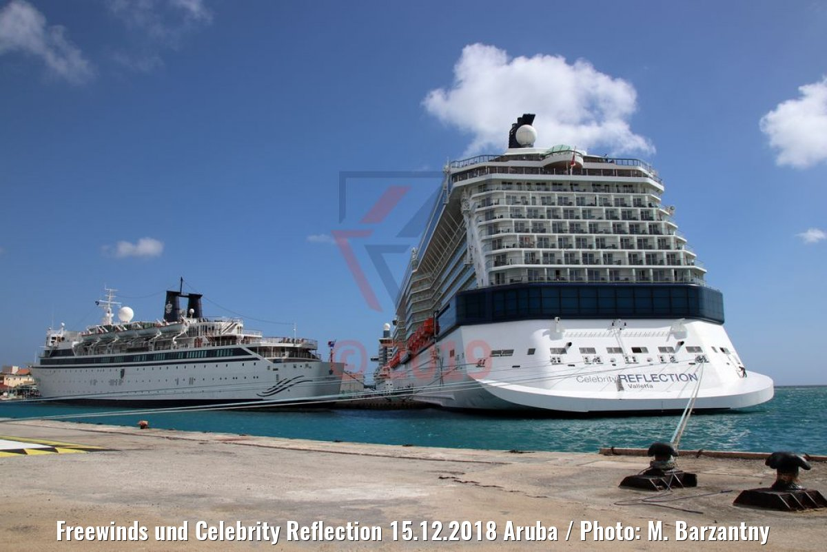 Freewinds und Celebrity Reflection 15.12.2018 Aruba / Photo: M. Barzantny
