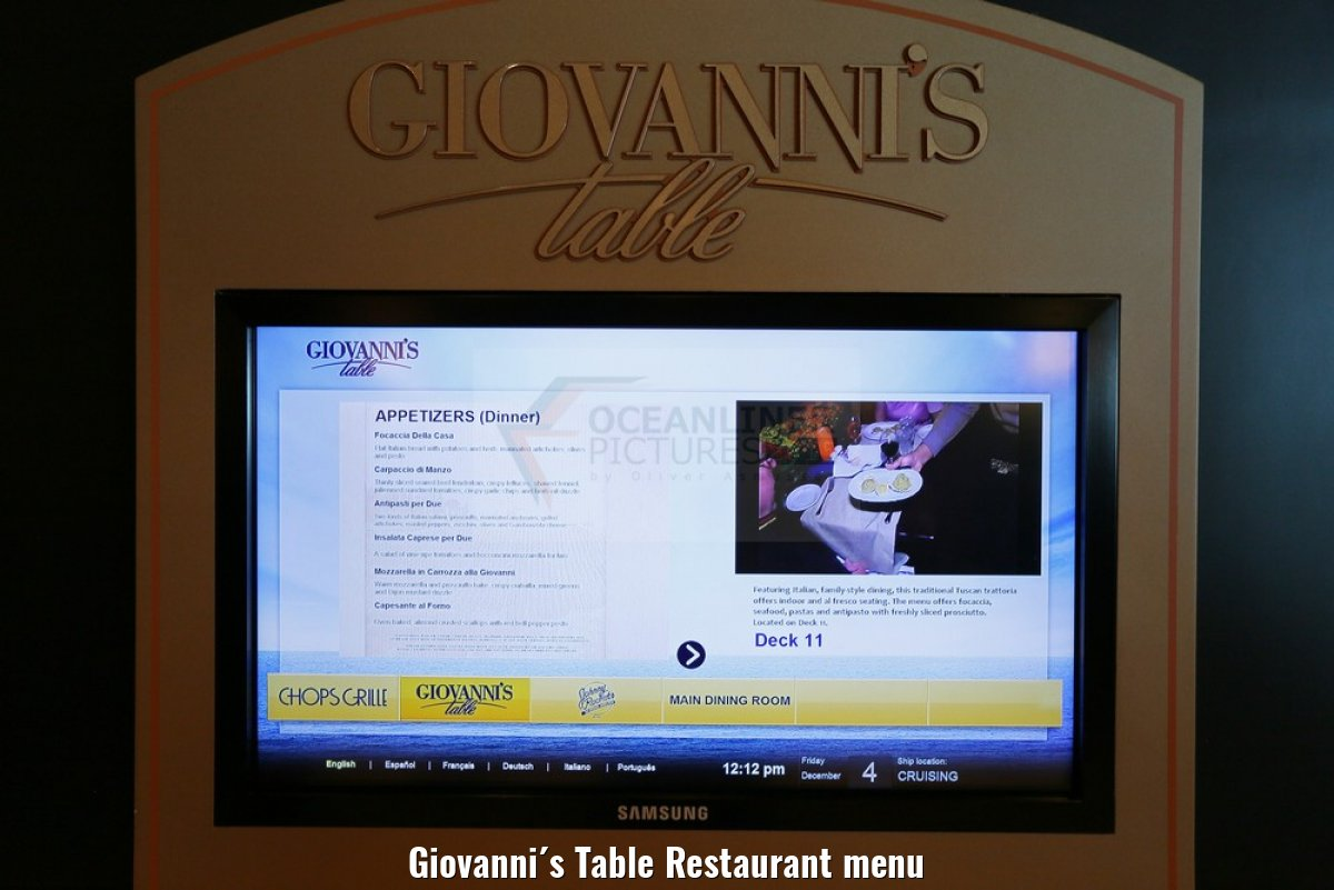 Giovanni´s Table Restaurant menu