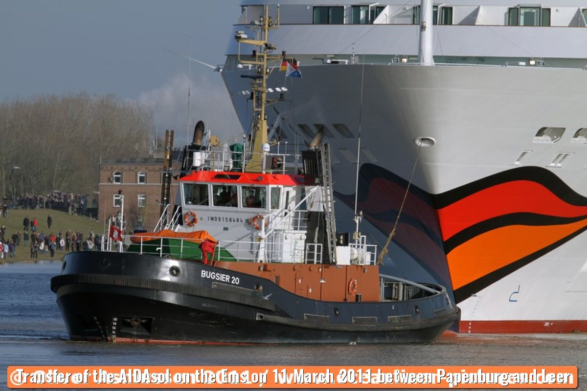 Transfer of the AIDAsol on the Ems on 11 March 2011 between Papenburg and Leer