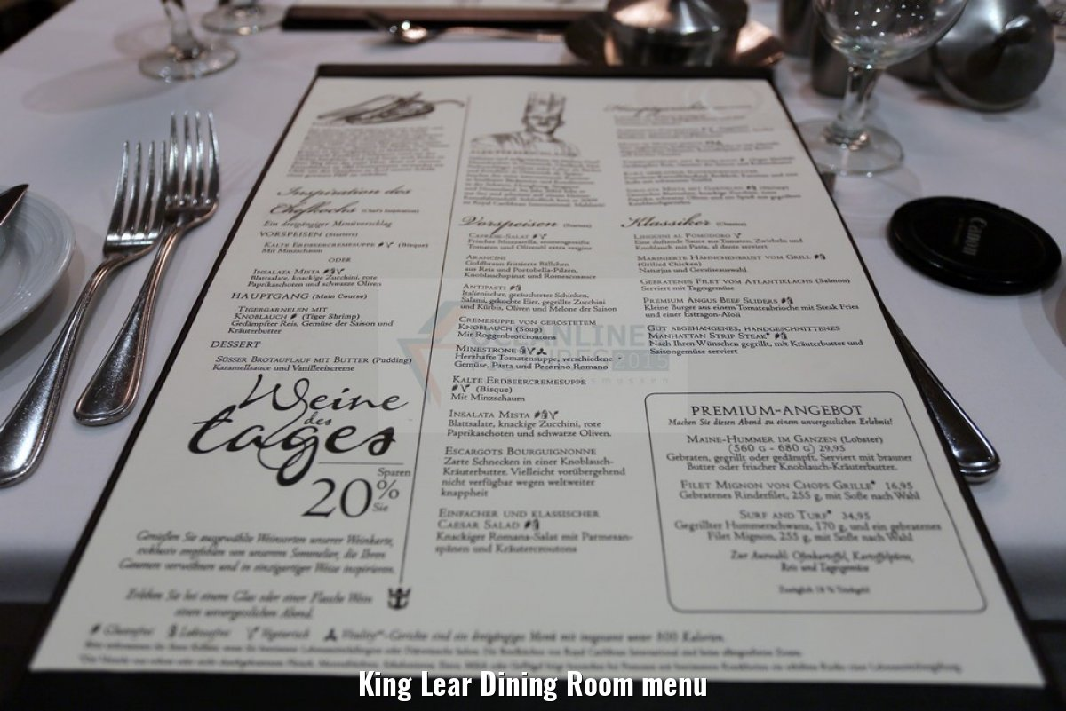 King Lear Dining Room menu