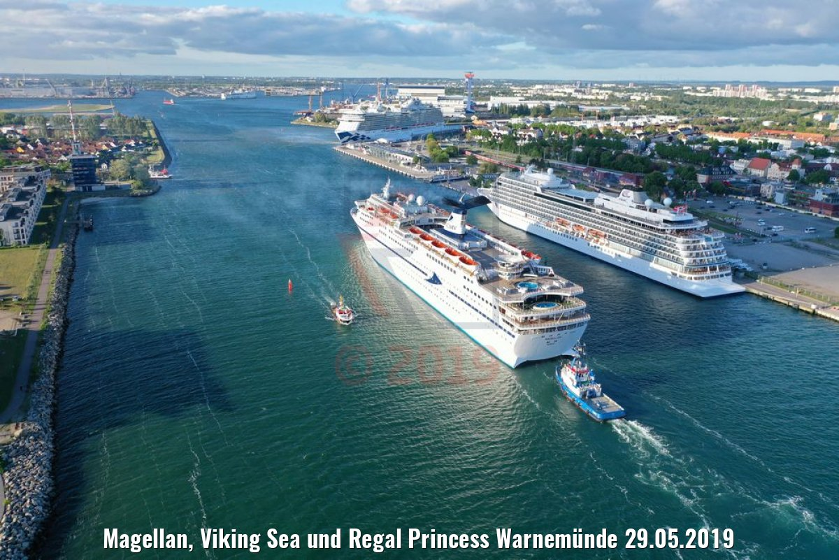 Magellan, Viking Sea und Regal Princess Warnemünde 29.05.2019