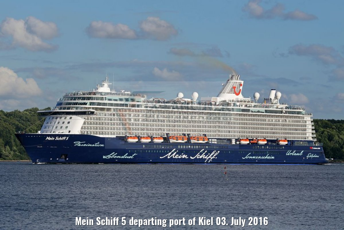 Mein Schiff 5 departing port of Kiel 03. July 2016