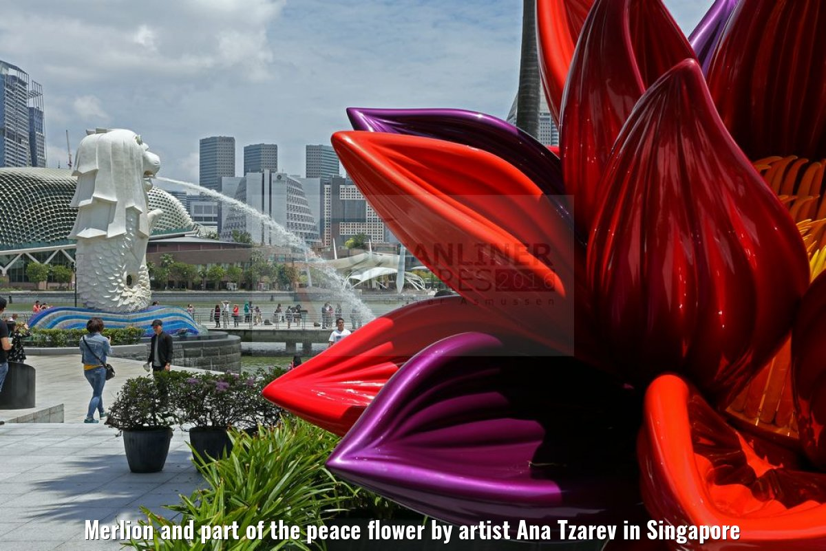 Merlion and part of the peace flower by artist Ana Tzarev in Singapore