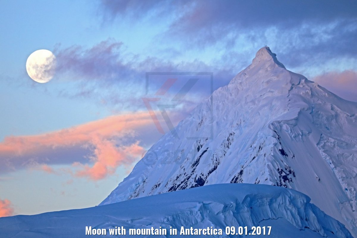 Moon with mountain in Antarctica 09.01.2017