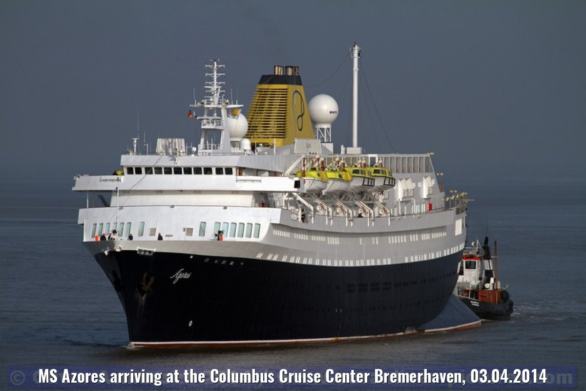 MS Azores arriving at the Columbus Cruise Center Bremerhaven, 03.04.2014