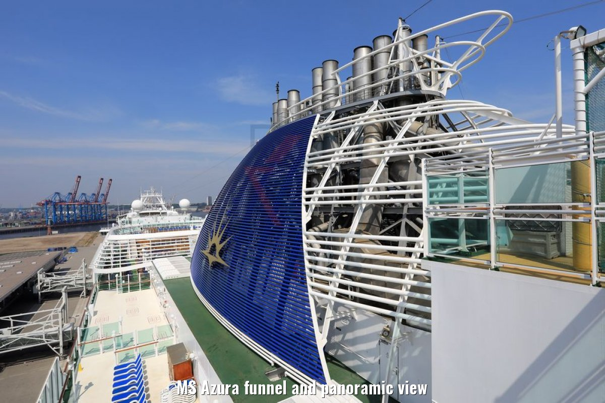 MS Azura funnel and panoramic view
