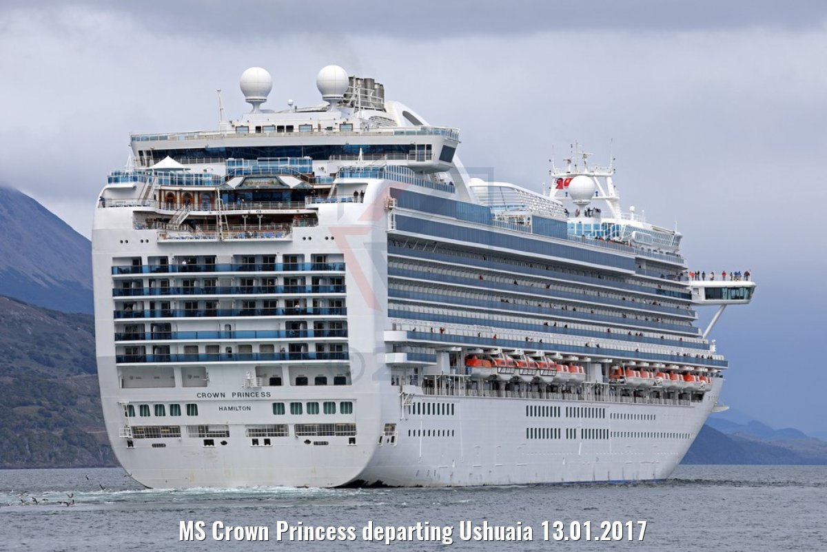 MS Crown Princess departing Ushuaia 13.01.2017