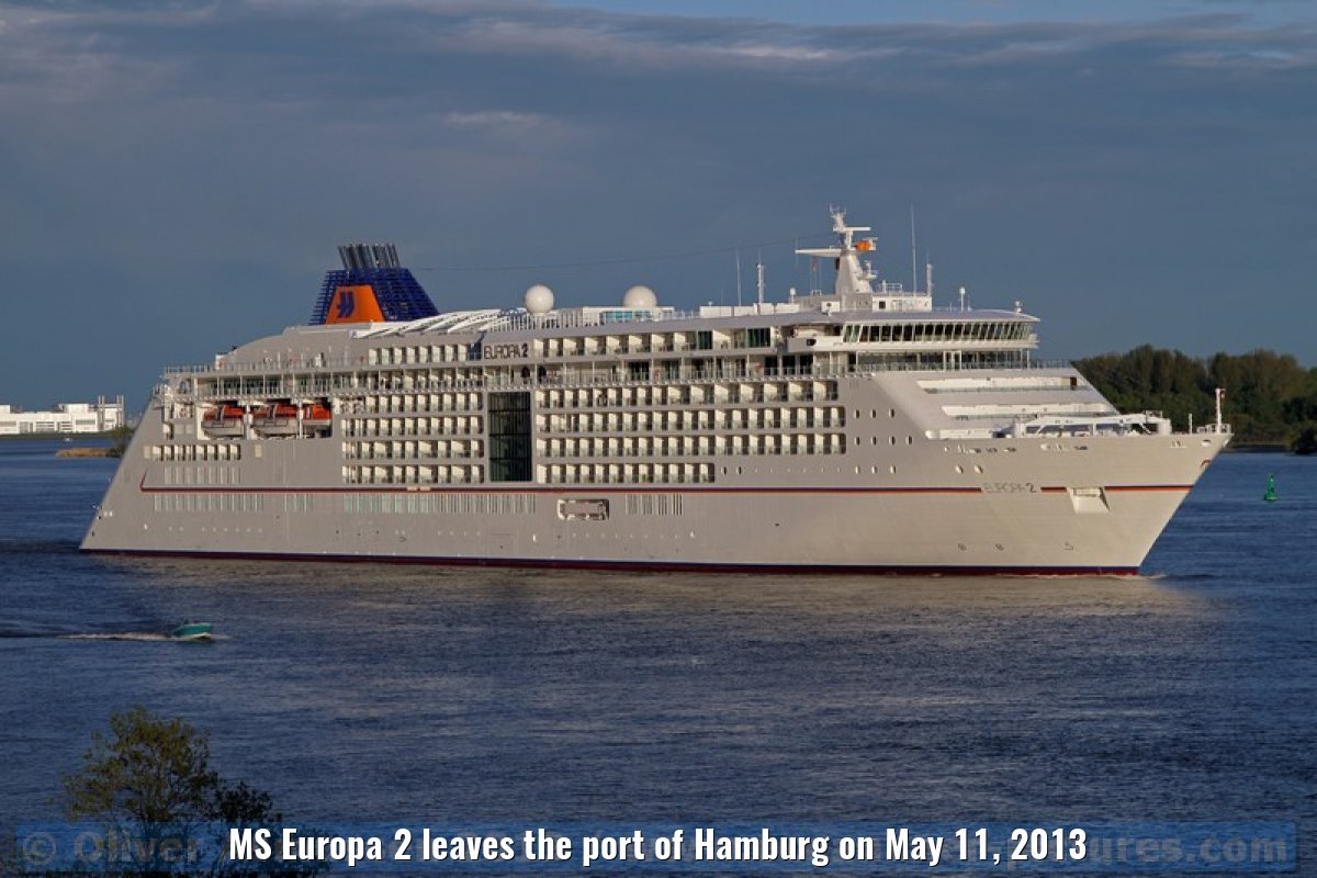 MS Europa 2 leaves the port of Hamburg on May 11, 2013