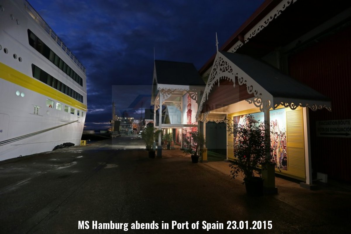 MS Hamburg abends in Port of Spain 23.01.2015