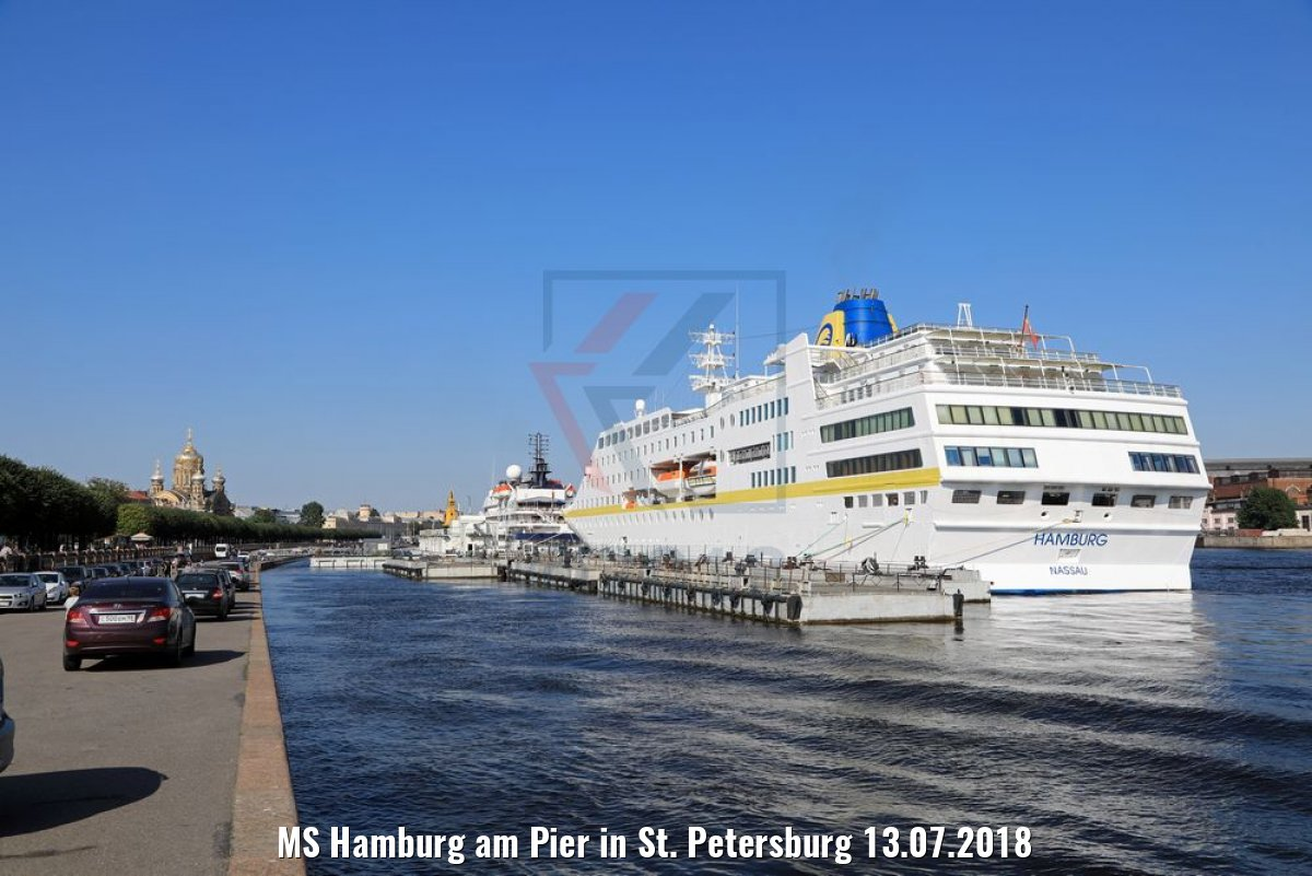 MS Hamburg am Pier in St. Petersburg 13.07.2018