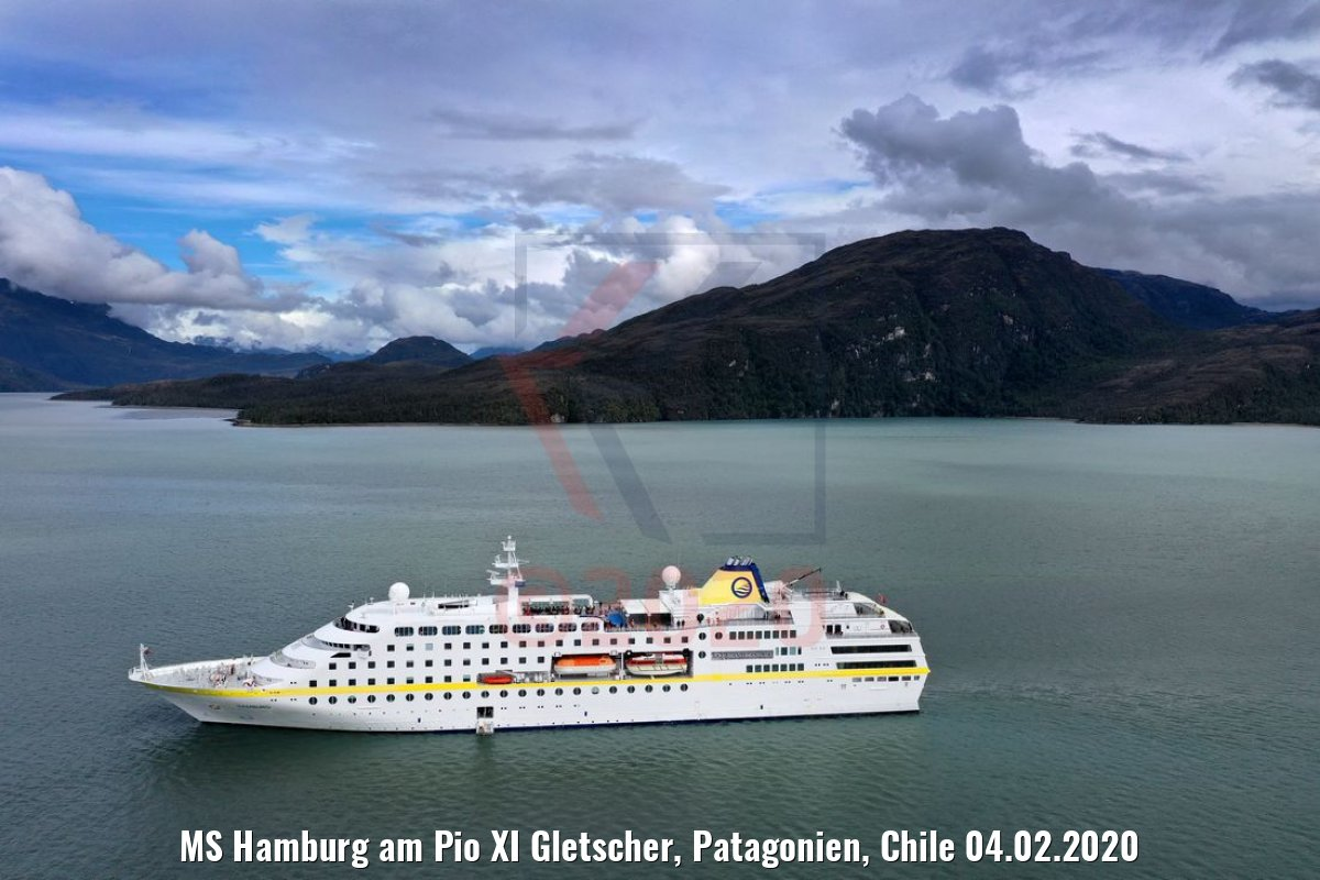 MS Hamburg am Pio XI Gletscher, Patagonien, Chile 04.02.2020