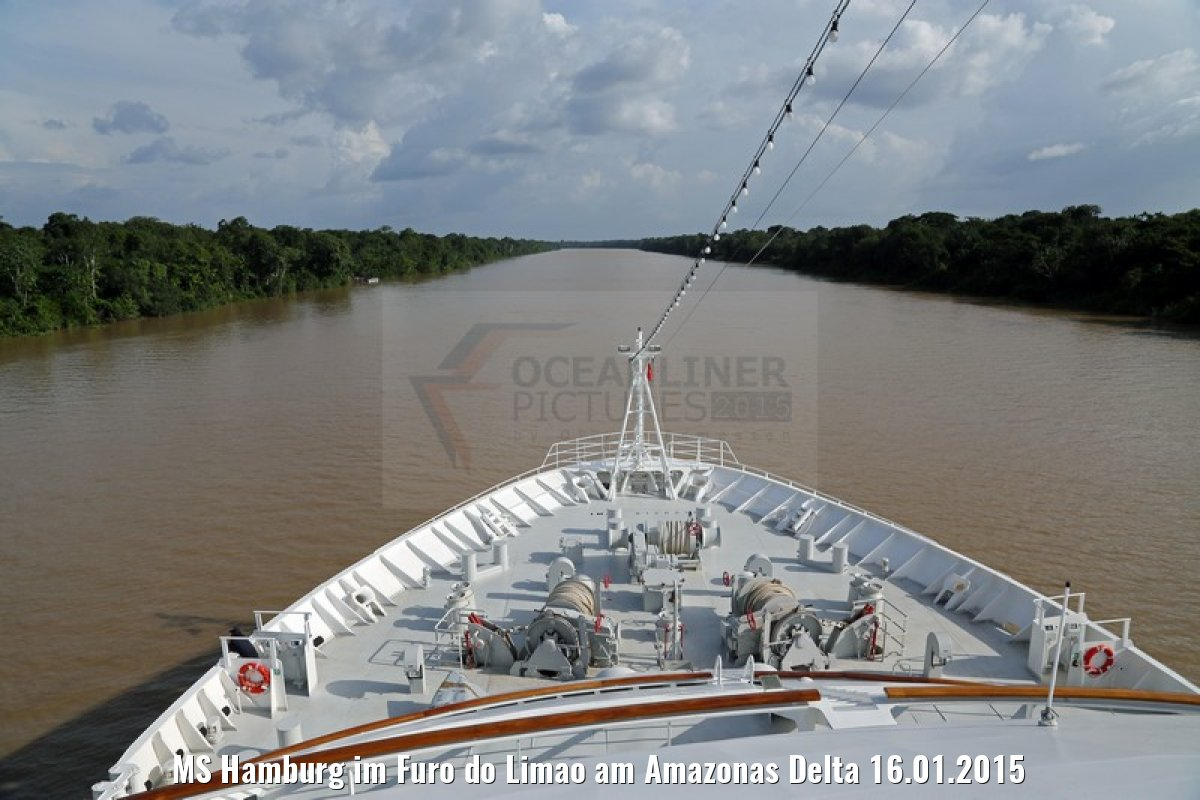 MS Hamburg im Furo do Limao am Amazonas Delta 16.01.2015