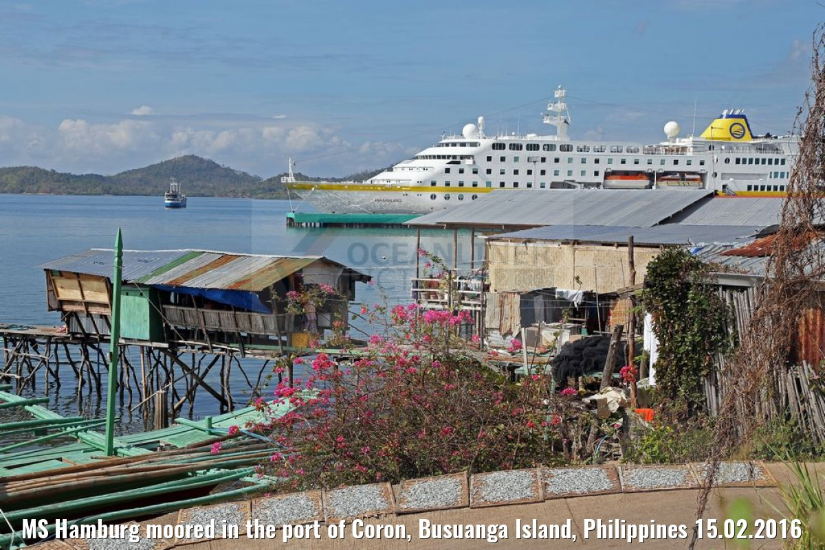 MS Hamburg moored in the port of Coron, Busuanga Island, Philippines 15.02.2016