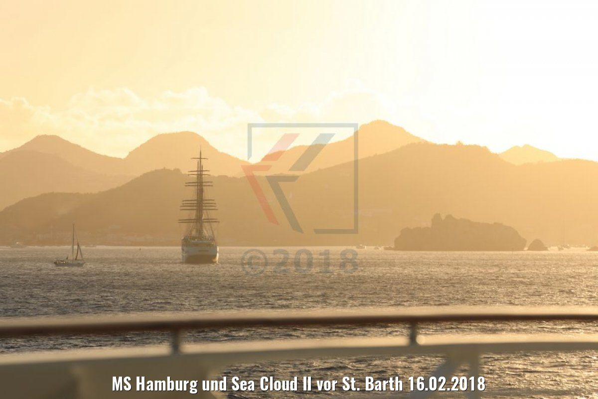 MS Hamburg und Sea Cloud II vor St. Barth 16.02.2018