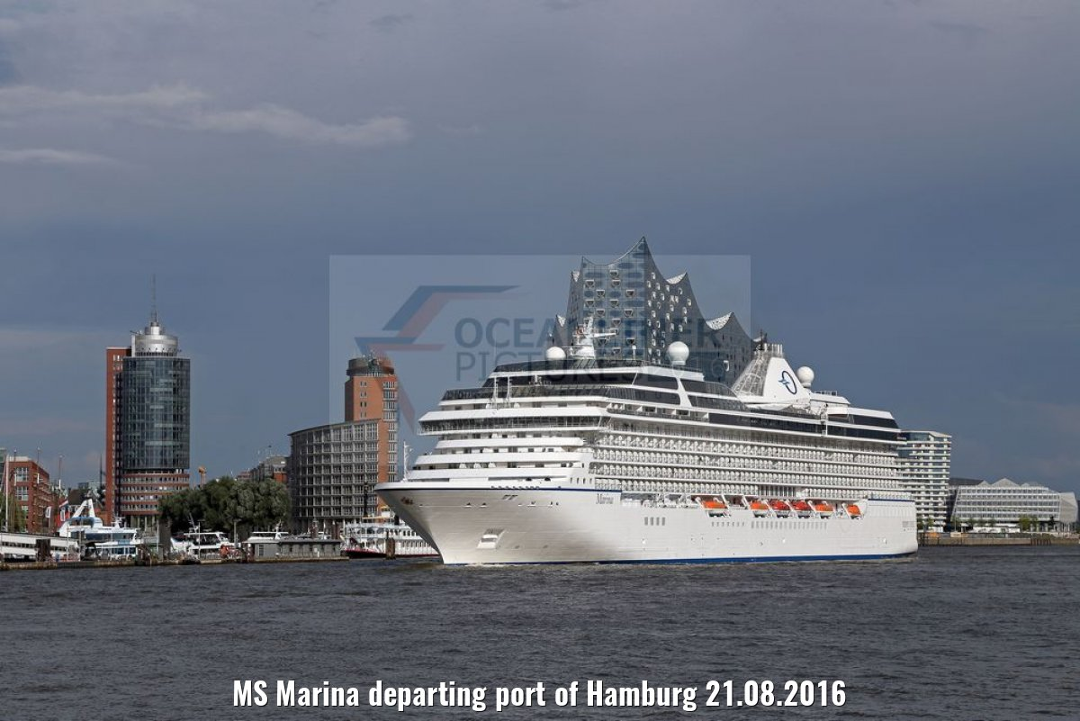 MS Marina departing port of Hamburg 21.08.2016