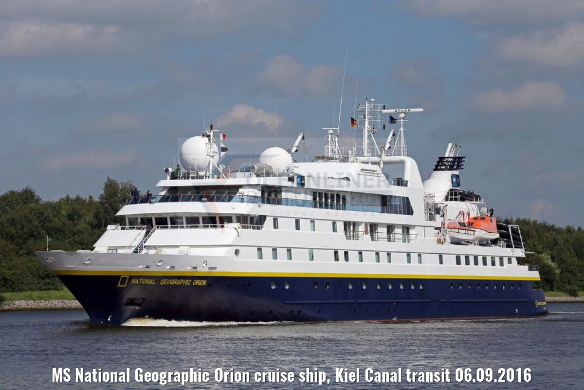 MS National Geographic Orion cruise ship, Kiel Canal transit 06.09.2016