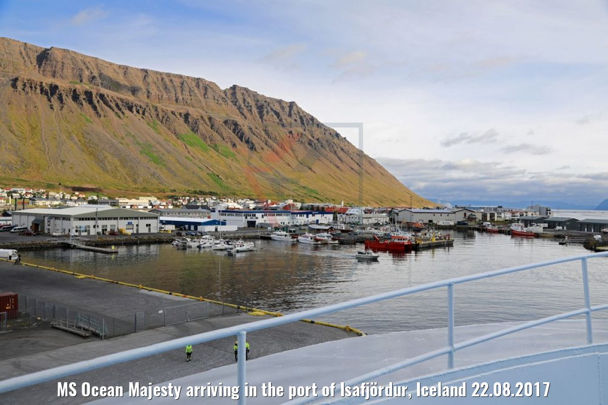 MS Ocean Majesty arriving in the port of Isafjördur, Iceland 22.08.2017