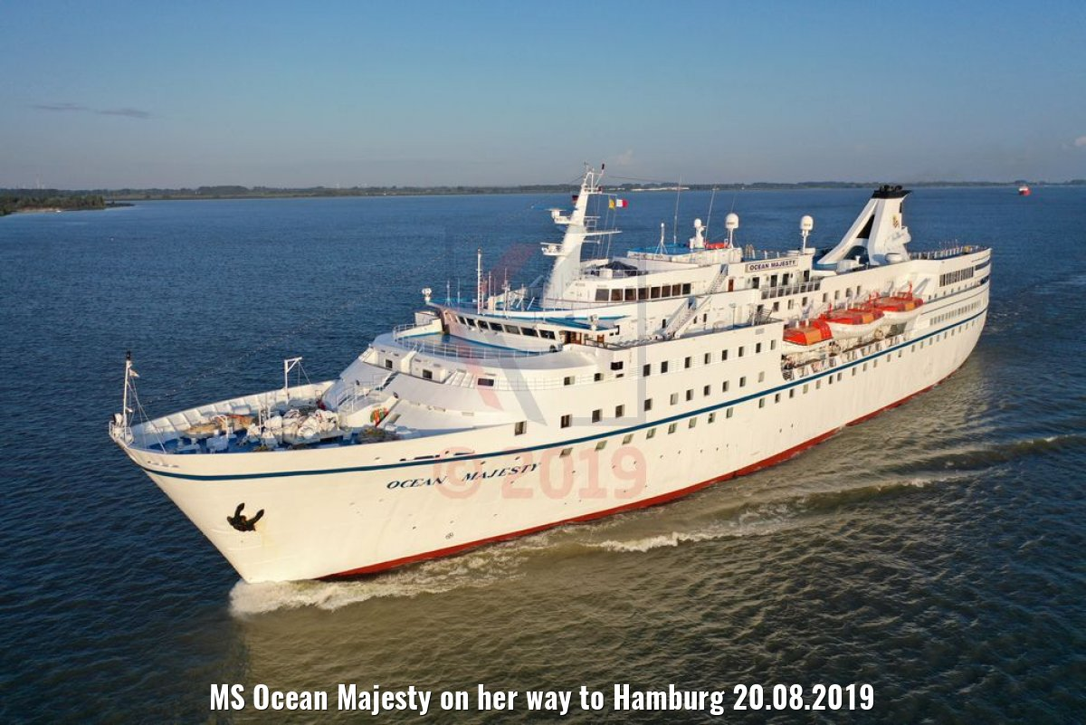 MS Ocean Majesty on her way to Hamburg 20.08.2019